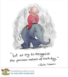 """Let us try to recognize the precious nature of each day.""  ~Dalai Lama Buddha Doodles"