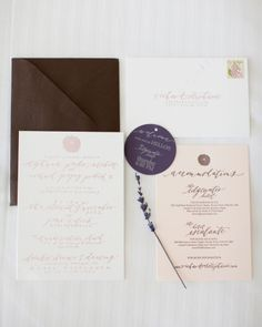 Contrasting blush and deep brown invitation suite.
