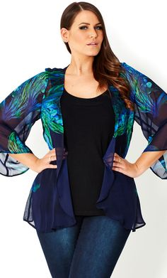 CITY CHIC - FEATHER BLUES JACKET - Women's plus size fashion