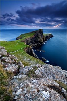 Isle of Skye, Scotland--55 degrees and windy in july; thought I would freeze to death.  got there by train through the highlands, then by ferry; stayed in lovely bed and breakfast by the sea.
