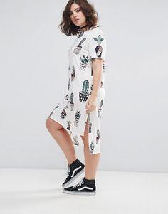 Pink Clove Cactus Print Jersey Dress With Step Hem