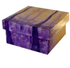 Abstract Purple Trees Jewelry Storage Box Hand by annarobertsart