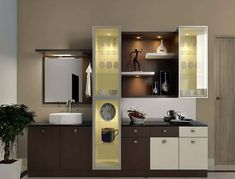 Crockery Units - Luxury Interior Designers in Whitefield - Home Decors in Bangalore - Villa Interior Designers in Bangalore. Kitchen Cupboard Designs, Kitchen Room Design, Dining Room Design, Home Decor Kitchen, Interior Design Kitchen, Kitchen Country, Kitchen Layout, Living Room Partition Design, Room Partition Designs