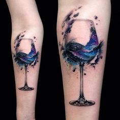 Wine glass graphic tattoo on inner forearm by Vlad Tokmenin