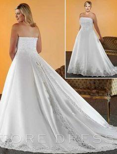 A-line Strapless Chapel Train Sleeveless Satin Plus Size Wedding Dress For Brides at Storedress.com