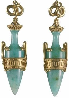 Jade and gold earrings, by Eugène Fontenay, circa 1867, France.