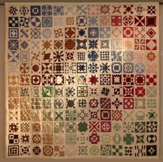 Vintage quilt! looks like a Dear Jane quilt! I think every block is different! What a project!
