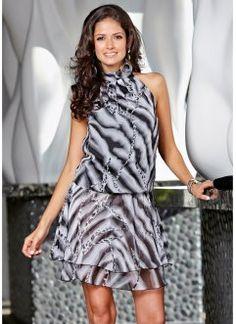 Vestido georgette frente única