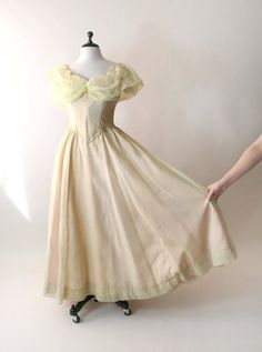 Vintage Prom Dress  Sheer Lemon Yellow Theater Costume by zwzzy, $68.00