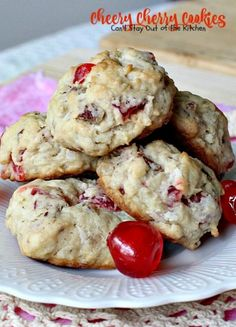 Cheery Cherry Cookies. These festive and scrumptious cookies are filled with cherries, pecans and coconut. Great for holiday baking.