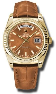 Rolex Watches: Day-Date President Yellow Gold - Fluted Bezel - Leather 118138 col Men's Watches, Timex Watches, Rolex Watches For Men, Mens Watches Leather, Luxury Watches For Men, Cool Watches, Fashion Watches, Leather Men, Wrist Watches