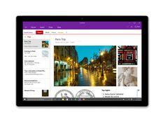 Ein Tablet, auf dem OneNote unter Windows 10 angezeigt wird.