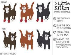 Three Little Kittens - Free Printable Stick Puppets with disappearing mittens!