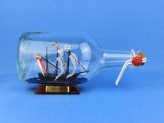"Santa Maria Model Ship in a Glass Bottle 9"""
