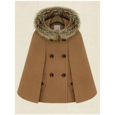 SheIn(sheinside) Camel Hooded Double Breasted Pockets Cape Coat (240 HRK) ❤ liked on Polyvore featuring outerwear, coats, camel, camel cape, brown hooded cape, short coat, short double breasted coat and camel coat