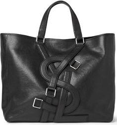 Yves Saint Laurent Logo Strap Leather Tote Bag
