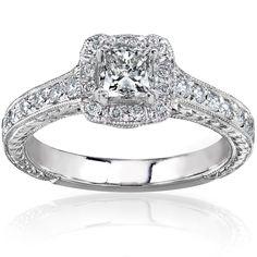 Annello by Kobelli 14k Gold 3/4ct TDW Princess-cut Diamond Halo Engagement Ring (White - Size 9), Women's, Pink