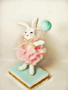 Ballerina Bunny cake topper centerpiece shabby chic easter decor baby shower decor pink and blue ooak art doll paper clay bunny rabbit by sugarcookiedolls on Etsy