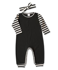 Look at this Tesa Babe Black & Ivory Stripe Playsuit & Headband - Infant on #zulily today!