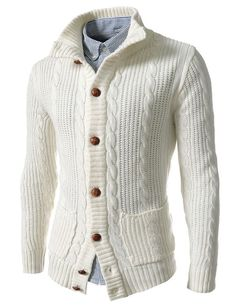 Wear a lace cardigan today! See how a lace cardigan can give your added appeal right here. Stylish Mens Outfits, Warm Outfits, Stylish Menswear, Men's Outfits, Fashion Outfits, Herren Style, Wool Cardigan, Mens Clothing Styles, Pulls