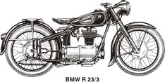 BMW R25/3, year 1953 by @Vanja, historical BMW motorcycle, vector from owners manual, on @openclipart
