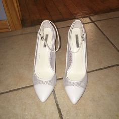 White Heels Worn once, BCBG white heels. Mesh on the sides with a small easy to walk in heel. BCBGeneration Shoes Heels