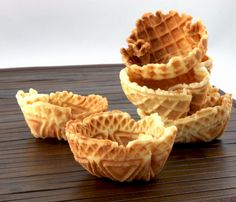 waffle bowls...If you do not have one of these specialty irons, try cooking the cone batter in a skillet and forming it into a cone shape or bowl shape while it is still hot.