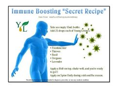 Immune boosting secret recipe with essential oils. Replace Young Living Thieves with Homemade Thieves