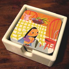 Good tutorial and idea for reuse of very damaged children's books. Can also add a coat of polyurethane to make coasters waterproof.