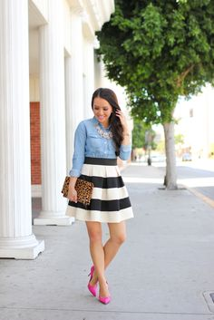 Stripes, Chambray, Leopard, and Pink