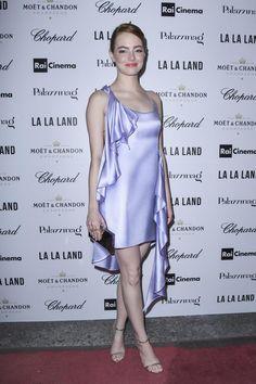 Emma Stone wearing Jimmy Choo Minny Sandals and Atelier Versace Fall 2016…