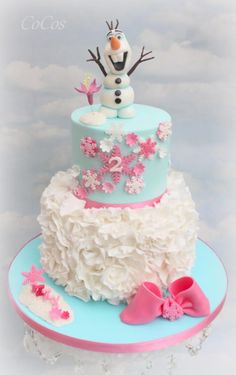 Frozen , Olaf birthday ruffle cake  - Cake by Lynette Brandl