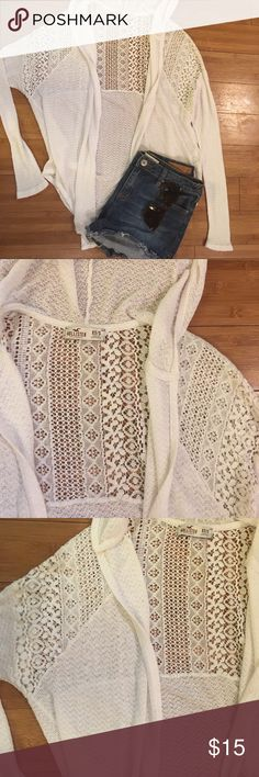 Casual hooded cardigan Cute and casual open cardigan with lace detail. Hooded, viscose/elastane blend. No flaws! Hollister Sweaters Cardigans