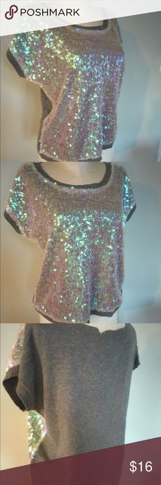 a.n.a Sequined Top Sz M petite Very soft Sequined Top by a.n.a petites.Lite Sweater like fabric .Can be worn any season.Excellent condition!Sz M p a.n.a Tops