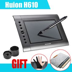 """HUION H610 10x6.25"""" Professional Graphics Drawing Tablet tableta grafica + Anti-fouling Golve + 15"""" Wool Felt Liner Bag Cover"""