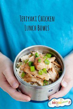 healthy school lunch idea: teriyaki chicken lunch bowls