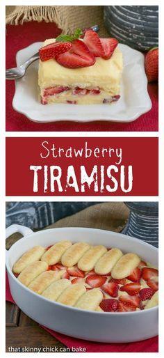 Berry Tiramisu | A strawberry twist on the Italian classic with mascarpone and Grand Marnier soaked ladyfingers! @lizzydo