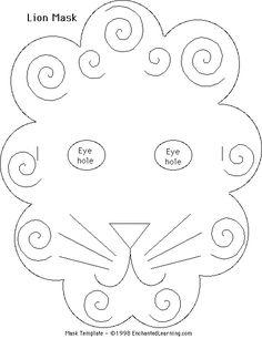 Make a lion mask - Enchanted Learning Software Bible Crafts For Kids, Children Crafts, Kid Crafts, Enchanted Learning, Carnival Of The Animals, Lion Mask, Mask Template, Kindergarten Crafts, Church Crafts