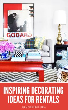 Inspiring Decorating Ideas For Rentals // living room, coffee table, chevron rug, Godard movie poster, books, brass lamp