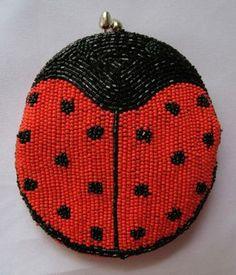 Vtg Delill Beaded Red Black Ladybug Coin Purse