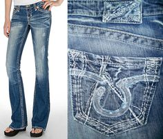 Big Star Sweet Boot Cut Low Rise Stretch 27 Embroidered Pkts Vintage Wash *NICE* #BigStar #BootCut