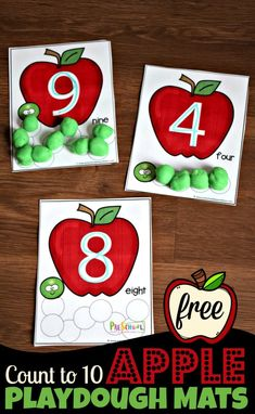 FREE Apple Count to 10 Playdough Mats – super cute toddler, preschool, kindergarten math activity for counting, tracing numbers in september - Education and lifestyle Preschool Apple Theme, Fall Preschool, Preschool Classroom, Preschool Learning, Toddler Preschool, Montessori Elementary, Montessori Preschool, Preschool Apples, Preschool Alphabet