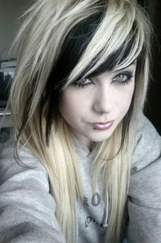 Blonde with black underneath fringe. I'd like to do this with a side cut....