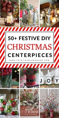 Glam up your mantel, coffee and dining table with these DIY Festive Christmas Centerpieces. From traditional to rustic there's a centerpiece to fit every decor style. Rustic Christmas, Simple Christmas, Winter Christmas, Homemade Christmas, Christmas Holidays, Coffee Table Christmas Decor, Holiday Centerpieces, Christmas Decorations, Rustic Centerpieces