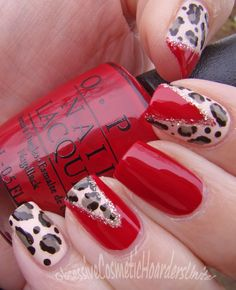 The above Hot Red Nail Designs That Are Trending will kick your looks up a notch. The reason why red nails are so popular is that they are flat out sexy. Red Cheetah Nails, Cheetah Nail Designs, Red Ombre Nails, Red And Gold Nails, Nail Art Designs Images, Fall Nail Art Designs, Red Nail Designs, Bling Nail Art, Red Nail Art