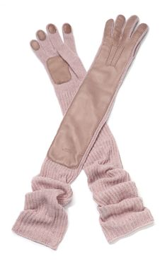 Pastel Pink Knit Wool And Leather Gloves