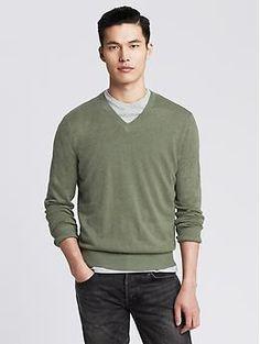 Zijden/linnen trui met V-hals