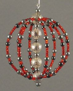 Items similar to Beaded Ornament on Etsy - Weihnachtsdeko Selbstgemacht Beaded Christmas Decorations, Christmas Ornament Crafts, Diy Christmas Ornaments, Handmade Christmas, Holiday Crafts, Ornaments Ideas, Beaded Ornament Covers, Beaded Ornaments, Beaded Crafts