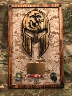 Spartan Helmet Ready Made Wall Plaque Military Crafts, Military Signs, Military Humor, Military Retirement, Retirement Gifts, Military Shadow Box, Once A Marine, Spartan Helmet, Award Plaques