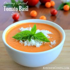 Creamy Roasted Tomato Basil Soup | KitchenCents.com